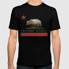California Grizzly Bear Flag 2X-LARGE Black Mens Fitted Tee