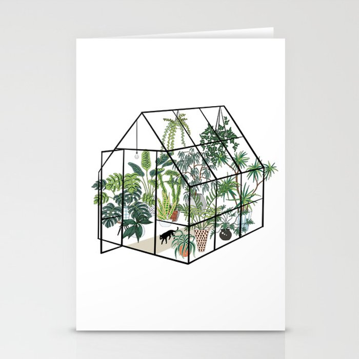 greenhouse with plants Stationery Cards