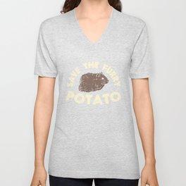 Save The Furry Potato - Funny Domestic Guinea Pig Illustration Unisex V-Neck