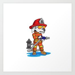 Firefigher Dog Dalmatian Fire Department Present Gift Cartoon Brigade Art Print