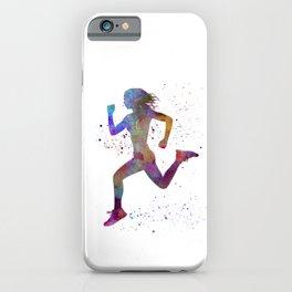 Woman runner running jogger jogging silhouette 01 iPhone Case