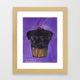 """""""Cherry on Pup"""" Black Pug Cake Framed Art Print"""