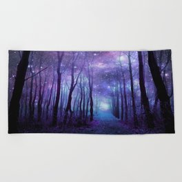 Fantasy Forest Path Icy Violet Blue Beach Towel