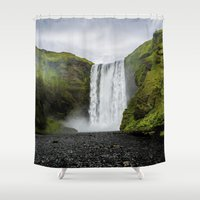 iceland Shower Curtains featuring Skogafoss Waterfall Iceland by Ramsvision