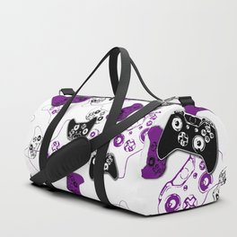 Video Game White & Purple Duffle Bag
