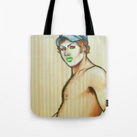 lou reed Tote Bags featuring Lou by NathanRapportArt