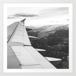 Mountain State // Colorado Rocky Mountains off the Wing of an Airplane Landscape Photo Art Print