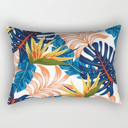 Trendy seamless tropical pattern with bright plants and leaves on a light background. Summer colorful hawaiian seamless pattern with tropical plants. Beautiful print with hand drawn exotic plants. Rectangular Pillow