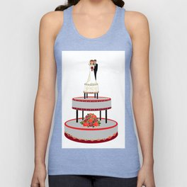 A Wedding Cake in Red and Black Tones Unisex Tank Top