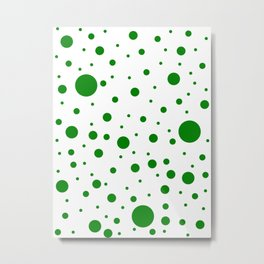Mixed Polka Dots - Green on White Metal Print
