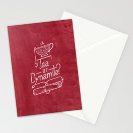 Tea or Dynamite? (red) Stationery Cards
