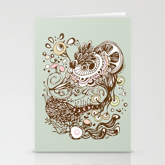 Zentangle green flower roots doodle Stationery Cards