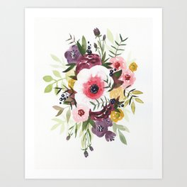 Burgundy Blush Watercolor Floral Art Print