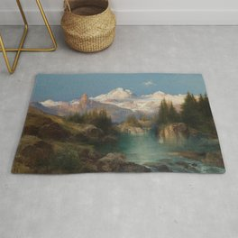Snow-capped Rocky Mountains landscape painting by Thomas Moran Rug