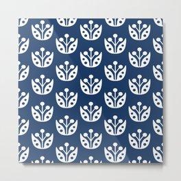 Mid Century Modern Abstract Flower Pattern 821 Navy Blue Metal Print