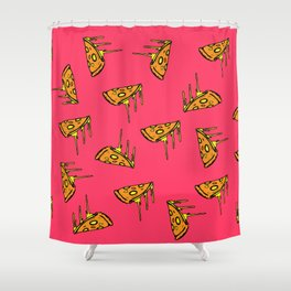 Pepperoni Pizza Dripping Cheese by the Slice Pattern (pink) Shower Curtain