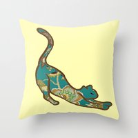 jewish Throw Pillows featuring I love you, kitten by Brown Eyed Lady