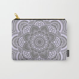 Mandala Flower Gray & Lavender Carry-All Pouch
