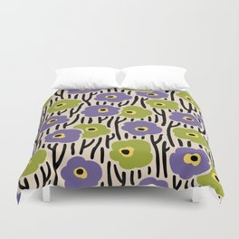 Mid Century Modern Wild Flowers Pattern Purple and Green Duvet Cover