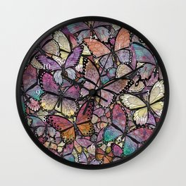 butterflies aflutter rosy pastels version Wall Clock