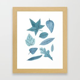Blue Leaf Pattern Framed Art Print