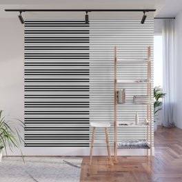 The Piano Black and White Keyboard with Horizontal Stripes Wall Mural