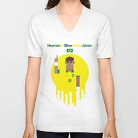 neymar V-neck T-shirts featuring Neymar Brazil Illustration Print by Gary  Ralphs Illustrations