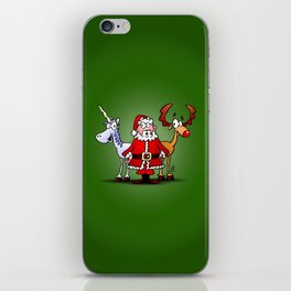 Santa Claus, his reindeer and a unicorn iPhone Skin