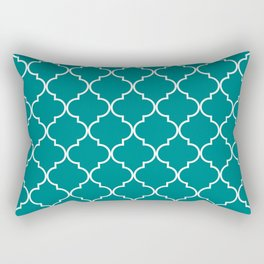 Quatrefoil - Teal Rectangular Pillow