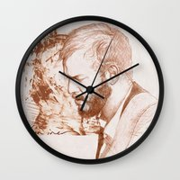 bon iver Wall Clocks featuring Bon Iver (Justin Vernon) by ChrisGreavesCreative