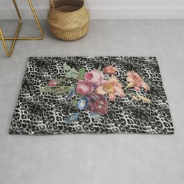 bohemian leopard skin and vintage flowers Rug