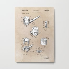 patent art Yow-Jiun Hu Smoking pipe apparatus 1968 Metal Print