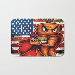 Angry Carrot USA Flag Foodietoon SuperHero Bath Mat
