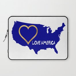 Love America USA Map Silhouette Laptop Sleeve