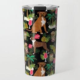 Boxer tiki tropical dog pattern modern pet friendly pet pattern dog breeds Travel Mug