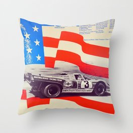 Vintage USA Racing Poster Throw Pillow