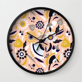 Bunch of Flowers and Leaves Wall Clock