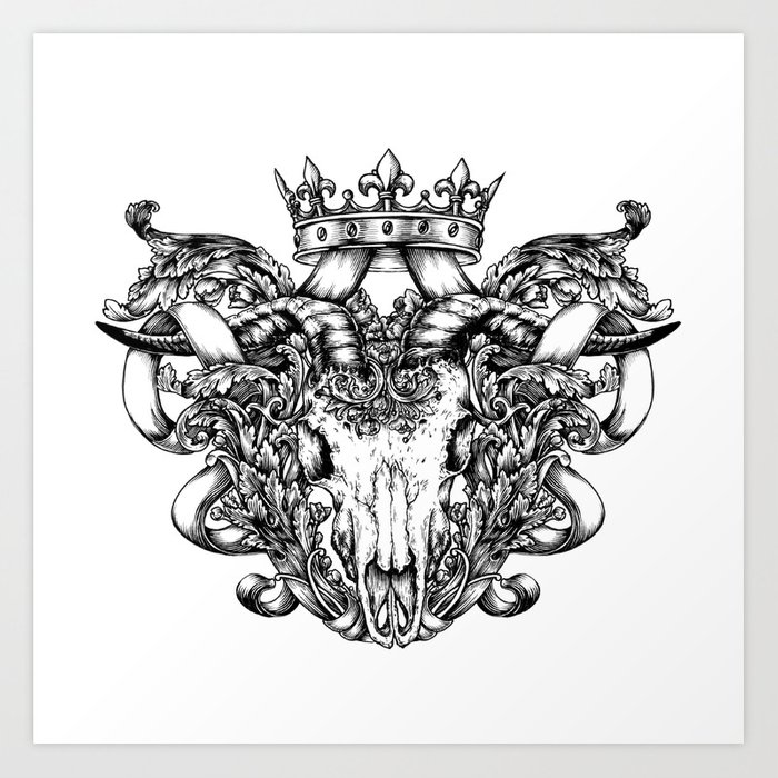 Royal goat skull (tattoo style) Art Print by theoreticalpart   Society6