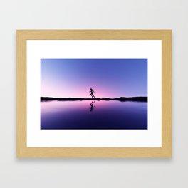female runner in seashore landscape Framed Art Print