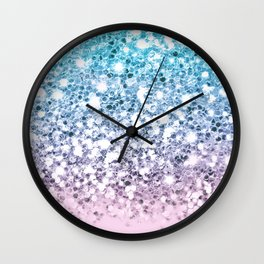 Sparkly Unicorn Blue Lilac & Pink Ombre Wall Clock