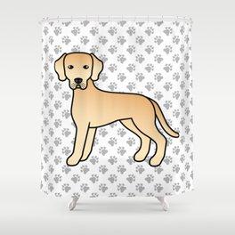 Yellow Labrador Retriever Dog Cute Cartoon Illustration Shower Curtain