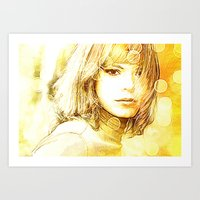 Society6 Tapestry Yellow Lady Art Print