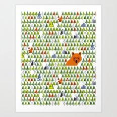 Barnål Bjørn - Pine Needle Bear, Nordic tree, forest, wood, mountain pattern Art Print