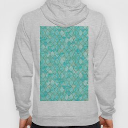 Luxury Aqua Teal and Gold oriental quatrefoil pattern Hoody
