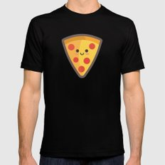 Pizza Face Black Mens Fitted Tee MEDIUM