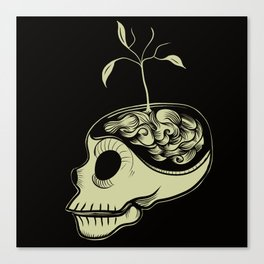 Cute Skulls Think Green Canvas Print