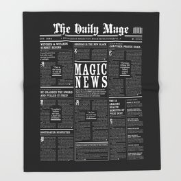 The Daily Mage Fantasy Newspaper II Throw Blanket