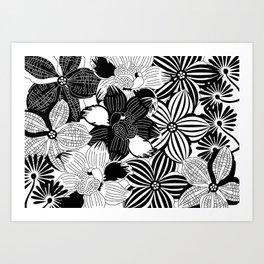 Flowers black & white serie 2 Art Print
