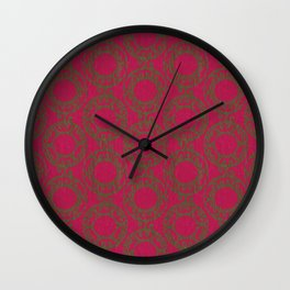 Scrolled Ringed Ikat Pattern – Jazzy Pesto Wall Clock