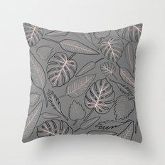 Monstera grey leaves Throw Pillow